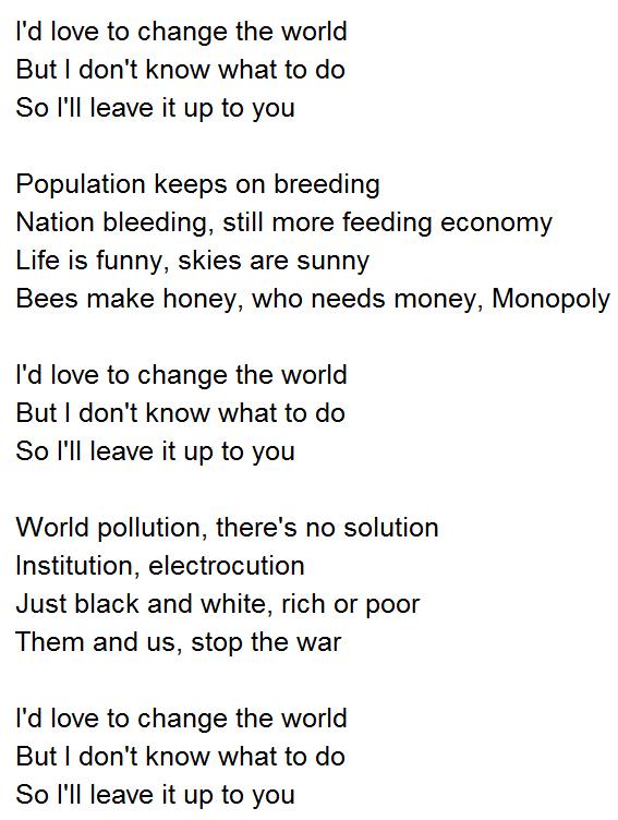私は世界の歌詞が大好き